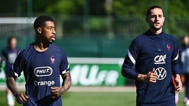 Presnel Kimpembe et Adrien Rabiot à l'entraînement