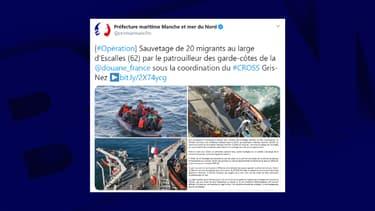 Vingt migrants ont été secourus au large d'Escalles ce jeudi.