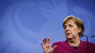 La chancelière allemande Angela Merkel, le 25 mars 2021 à Berlin