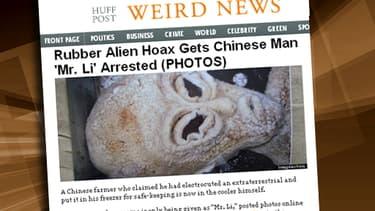 M. Li a fabriqué un alien en caoutchouc. Le buzz a pris sur Internet.