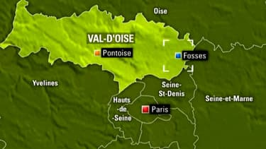 Carte de Fosses dans le Val d'Oise où a eu lieu le rodéo routier de vendredi soir.
