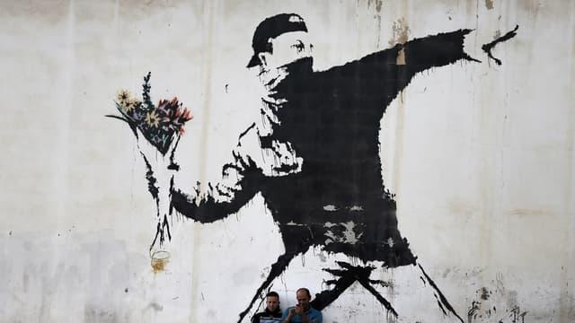 Photo d'illustration avec une oeuvre de Banksy