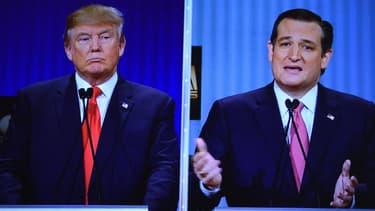 Donald Trump et son rival Ted Cruz, lors d'un débat télévisé entre candidats républicains.