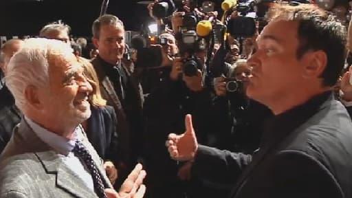 Jean-Paul Belmondo et Quentin Tarantino à la 5e édition du Festival Lumière à Lyon, lundi 14 octobre.