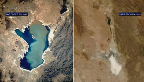 Évolution sur 24 ans du lac Poopó en Bolivie.