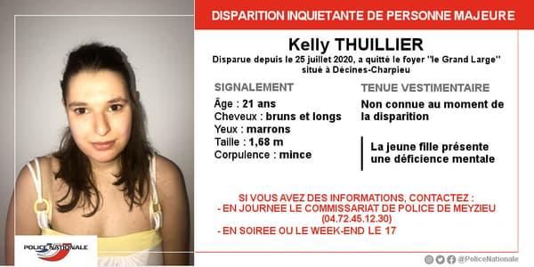Kelly, 21 ans, a disparu le 25 juillet dernier