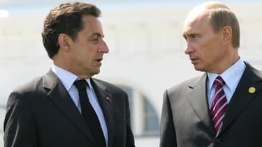 Nicolas Sarkozy et Vladimir Poutine, le 7 juin 2007.