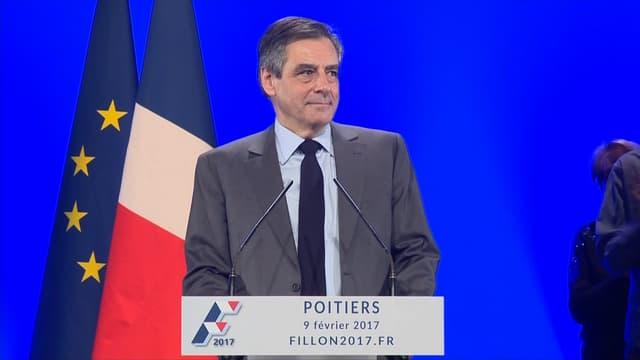 François Fillon lors de son meeting à Poitiers le jeudi 9 février.