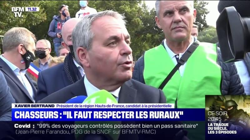 """Manifestation des chasseurs: Xavier Bertrand estime que """"la ruralité, on la respecte"""""""