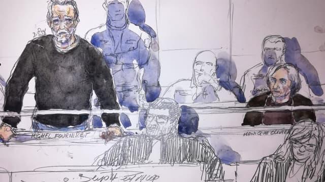 Michel Fourniret dessiné aux côtés de Monique Robin, le 13 novembre 2018 à la Cour d'assises de Versailles