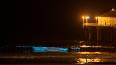 Une vague bioluminescente observée le 29 avril 2020 à Manhattan Beach, en Californie.