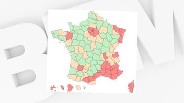 Les départements où le taux d'incidence est inférieur à 50, au 22 septembre 2021.