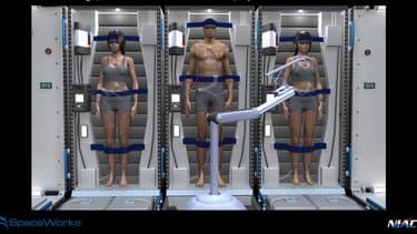 Vue d'artiste de ce à quoi pourrait ressembler les voyages vers Mars, dans le futur.