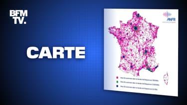 La carte de France des sites 5G en France, dévoilée par l'Agence nationale des fréquences en novembre 2020.