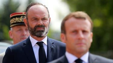 Emmanuel Macron et Edouard Philippe au Mont-Valérien, près de Paris, le 18 juin 2020