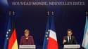 Nicolas Sarkozy et Angela Merkel ont lancé mercredi soir un ultimatum à la Grèce, sommée de mettre en oeuvre l'ensemble du plan européen de règlement de la crise de sa dette sous peine de ne plus recevoir la moindre aide. /Photo prise le 2 novembre 2011/R