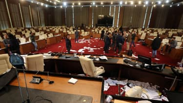 Le Parlement libyen lors d'une manifestation, en mars dernier.