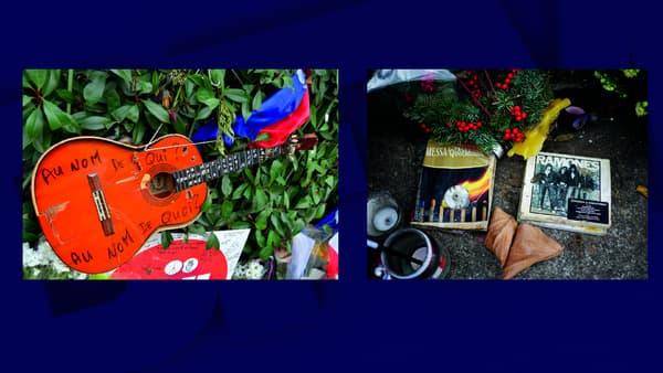 Une guitare devant le Bataclan le 10 décembre 2015 - Un livre et un CD devant le Bataclan le 18 janvier 2016