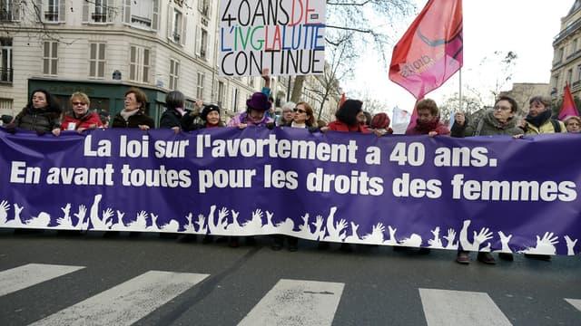 Manifestation pour le droit des femmes à Paris, le 17 janvier 2015.