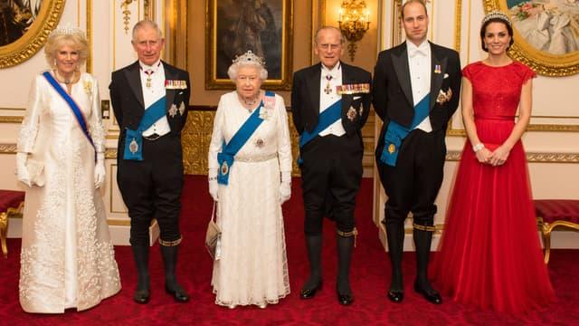 La famille royale pose à Buckingham Palace, le 8 décembre 2016