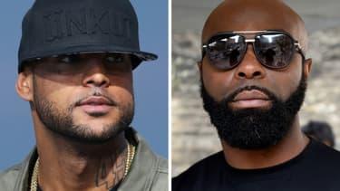 Les rappeurs Booba (G), le 19 mai 2014 à Cannes, et Kaaris (D), le25 mars à Paris