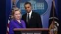 La secrétaire d'Etat américaine Hillary Clinton, aux côtés de Barack Obama, à la Maison Blanche. Après presque un an de négociations sur un nouveau traité de réduction des arsenaux nucléaires destiné à remplacer Start I, qui a été signé en 1991, la Maison