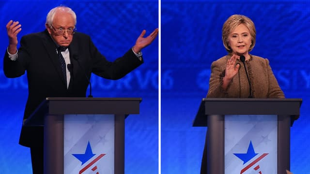 Bernie Sanders et Hillary Clinton, lors d'un débat démocrate sur ABC, le 19 décembre 2015.