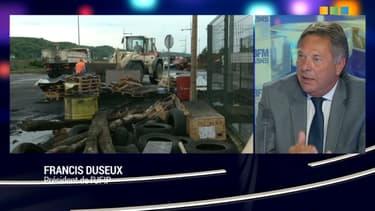 Le président de l'Ufip, Francis Duseux, plaide pour une intervention des forces de l'ordre dans la grève des transporteurs de matières dangereuses.