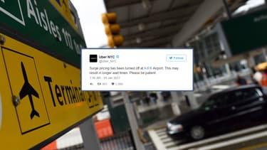 Le tweet d'Uber à New York qui a entraîné une vague de protestations contre le VTCiste sur le réseau social.