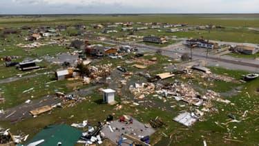 Vue aérienne des dégâts causés par l'ouragan Laura, le 27 août 2020 à Lake Charles, en Louisiane