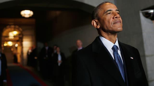Barack Obama le 20 janvier 2017, jour de l'investiture de son successeur, Donald Trump.