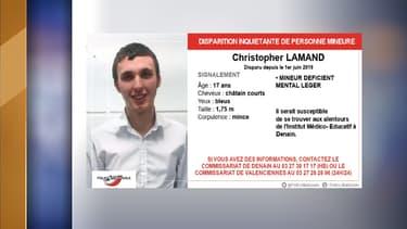 Christopher Lamand a disparu depuis le 1er juin.