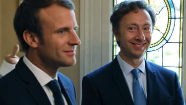 Emmanuel Macron et Stéphane Bern à Port-Marly, dans les Yvelines. - Ludovic Marin - AFP