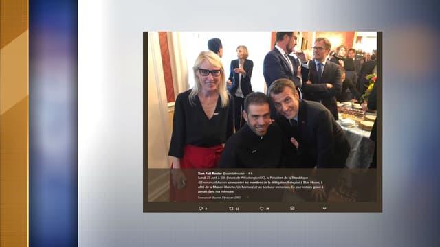Le blogueur et aventurier Samuel Marie avec Emmanuel Macron, le lundi 23 avril 2018 aux Etats-Unis.