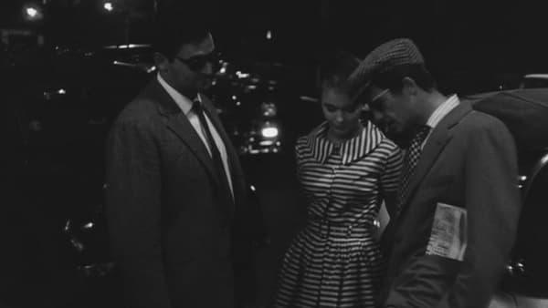 """Roger Hanin, Jean Seberg et Jean-Paul Belmondo dans """"A bout de souffle"""" de Jean-Luc Godard."""
