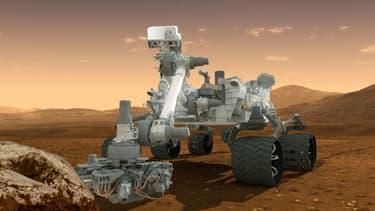 Vue d'artiste de Curiosity, le robot envoyé sur Mars et arrivé à destination le 6 août 2012.