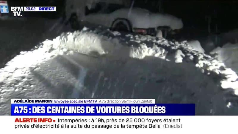 Tempête Bella: des centaines de véhicules bloqués pendant plusieurs heures sur l'A75 en direction de Saint-Flour dans le Cantal