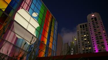 Le logo d'Apple, quelques heures avant la présentation de l'Iphone 5 à San Francisco, le 11 septembre 2012.