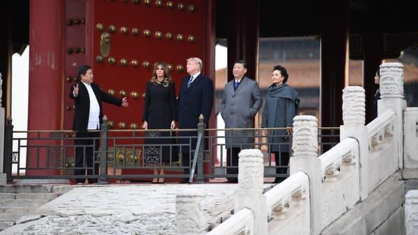 Les couples présidentiels américain et chinois, le 8 novembre, dans la Cité interdite, à  Pékin.