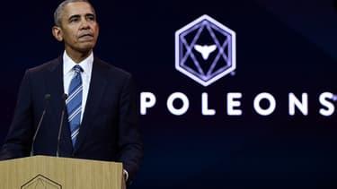"""Barack Obama a donné une conférence à Paris, organisée par le réseau """"Les Napoléons""""."""
