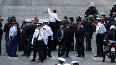 Emmanuel Macron sur les Champs-Elysées ce 14 juillet.