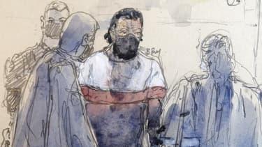 Salah Abdeslam dans le box des accusés ce lundi.