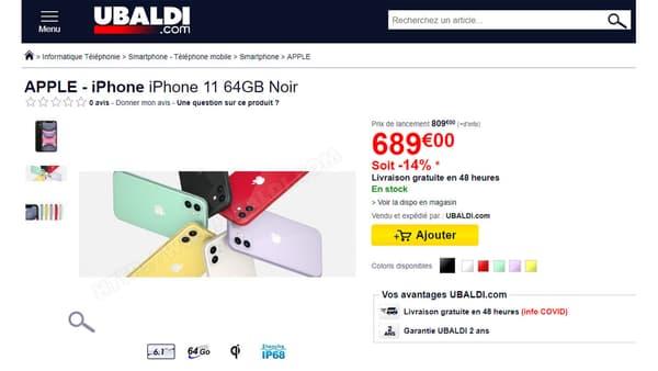 Capture d'écran du site Ubaldi, réalisée le 4 décembre 2020