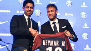 Nasser al-Khelaïfi et Neymar en 2017