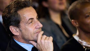 Nicolas Sarkozy, lors du meeting de NKM pour les municipales en mars 2014.