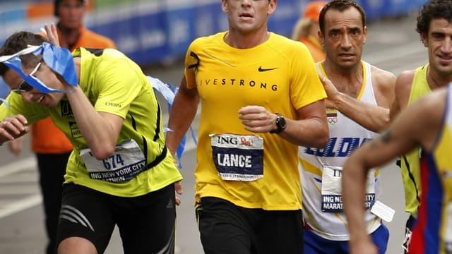Lance Armstrong lors du marathon de New-York en 2007