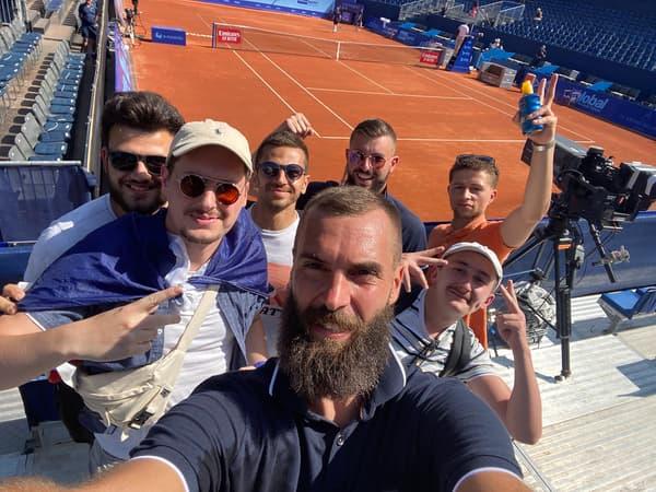 Théo Rudloft, Jean Bouthiaux, Thomas Otalora et Alexy Minnard et  Guillaume Besson avec Benoit Paire lors du tournoi de Gsstad