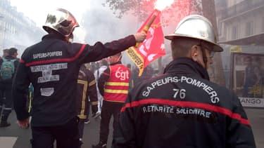 Manifestation des pompiers à Paris le 15 octobre 2019