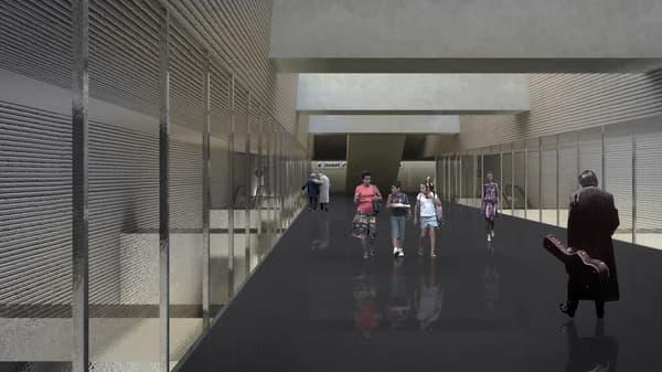Perspective intérieure de la nouvelle gare de Bagneux prévue en 2020.