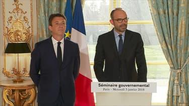 Edouard Philippe et Benjamin Griveaux à la sortie du séminaire gouvernemental mercredi.